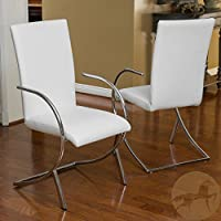 Christopher Knight Home 238386 Lydia Leather/Chrome Chairs (Set of 2), White