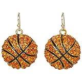 Heirloom Finds Orange Crystal Basketball Dangle Earrings with Black Enamel
