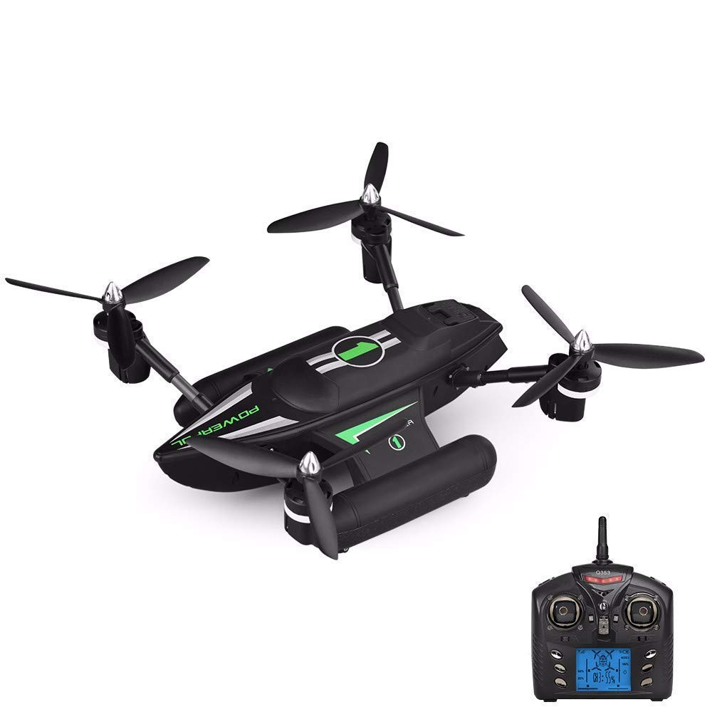 XJ0526 Drone Remoto Q353 2.4G Giroscopio De 6 Ejes Aire - Tierra - Agua RC Quadcopter con Luz LED/Retorno Automático/Despegue Automático/Modo Sin Cabeza RTF Drone,Green
