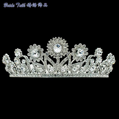 Elegant Sunflower Headdress Really Clear Austrian Crystal Crown Tiara Diadem Bridal Wedding Hair Jewelry Accessories Women Sha8732