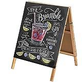 32 Inch Natural Wood Finish A-Frame Chalkboard Sidewalk Sign/Double-Sided Cafe, Store & Menu Signage