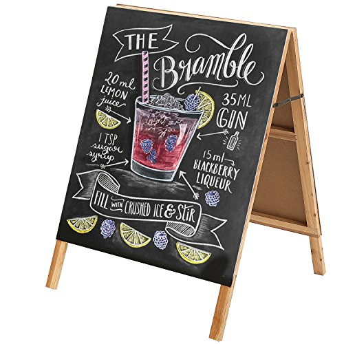 32 Inch Natural Wood Finish A-Frame Chalkboard Sidewalk Sign/Double-Sided Cafe, Store & Menu Signage by MyGift