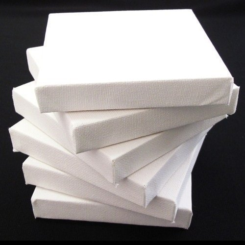 Set of 6 Artists Blank Canvas - 15cm x 15cm Flat Canvas