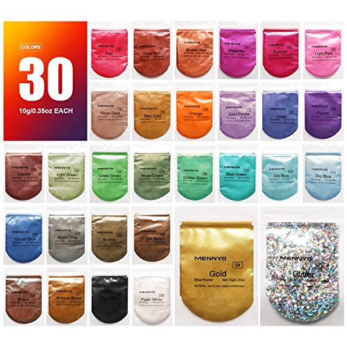 MENNYO Mica Powder 30 Colors (10g/0.35oz, Total 300g/10.5oz), Natural Pigments Glitter Epoxy Resin Dye for Soap Making, Bath Bomb, Candle, Cosmetic Eyeshadow, Makeup, Nail Polish, Slime, Paint