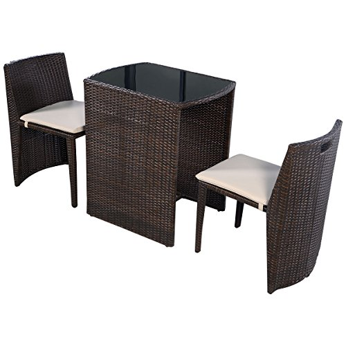 Crawford Daybed - 3 PCS Cushioned Wicker Set Sofa Furniture Seat Brown For Garden Lawn Outdoor