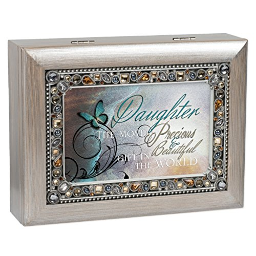 Precious Daughter Brushed Pewter Finish Jeweled Jewelry Music Box Plays You Light Up My Life ()