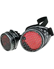 MFAZ Morefaz Ltd Veiligheidsbril, laszonnebril, laderende cyberbril, steampunk, gothi, ronde cosplay-bril, feestjurk, fancy jurk