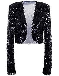 Womens Sequin Jacket Long Sleeve Glitter Cropped Bolero Shrug