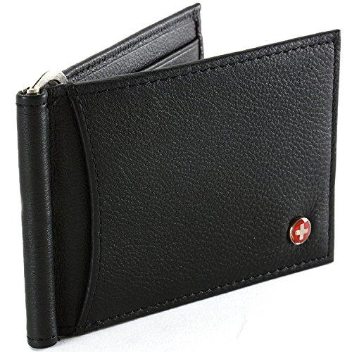 Alpine Swiss RFID Blocking Mens Leather Spring Loaded Money Clip Wallet