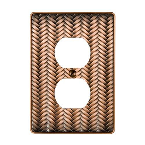 - AmerTac 89DAC Weave Cast Metal Single Duplex Outlet Wallplate, Antique Copper