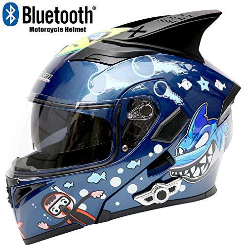 - CAJUXI Personality Great White Shark Motorcycle Bluetooth Helmet, Four Seasons Front Flip Double Lens Locomotive SUV Racing ATV with Horn Helmet DOT Certification,XL61cm~62cm