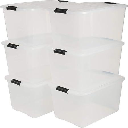 Iris Top Box TB-45 Lote de 6 Cajas apilables de Almacenamiento con Cierre de Clip, Plã¡Stico, 45 L, 57.5 x 39 x 30.5 cm, 6 Unidades: Amazon.es: Hogar