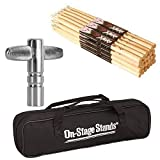 On Stage Maple Nylon Tip Drumsticks (12 pair) + Chrome Plated Drum Tunning Key + Drum Stick Bag - Top Value Bundle! (Maple Drum Sticks 5A Nylon Tip, 12 pair)