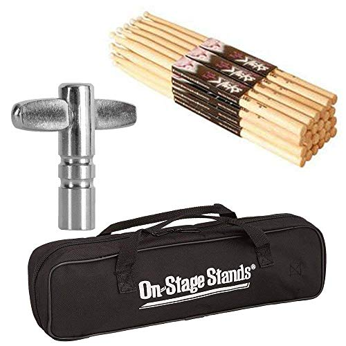 On Stage Maple Nylon Tip Drumsticks (12 pair) + Chrome Plated Drum Tunning Key + Drum Stick Bag - Top Value Bundle! (Maple Drum Sticks 7A Nylon Tip, 12 pair) ()