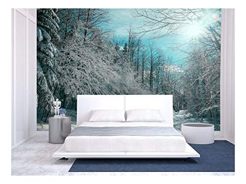 Large Wall Mural Snow Covered Trees in Winter Forest Vinyl Wallpaper Removable Wall Decor