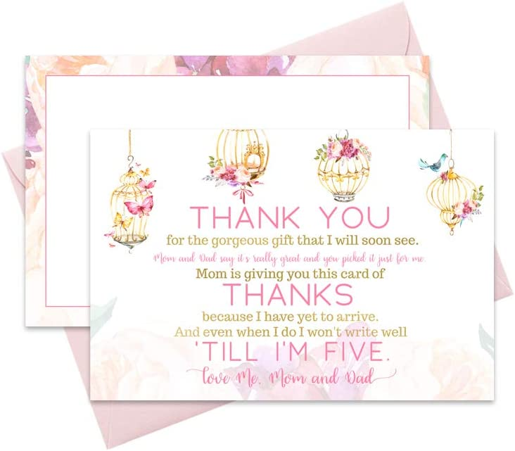 Fancy Floral Baby Shower Thank You Cards and Pink Envelopes 15 Pack