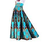 Mfasica Womens Long Dashiki Big Pendulum African Print Casual Party Skirt 3 2XL