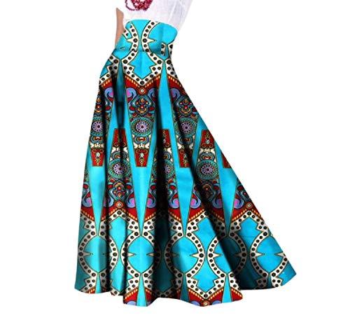 Mfasica Womens Long Dashiki Big Pendulum African Print Casual Party Skirt 3 2XL by Mfasica