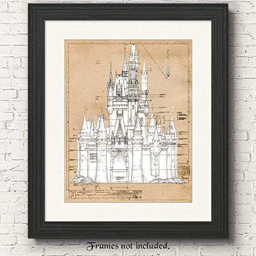 Walt Disney-Cinderella's Castle- Set of 1 (One11x14) Unframed Vintage Patent Poster Print- Great Wall Art Decor Gifts Under $15 for Home, Office, Garage, Man Cave, Nursery, Teacher, Boys,Girls, Babies ()