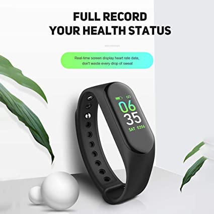 Junaldo M3ii Fitness Smart Band Tag with BP, Heart Rate Sensor, Step,  Calorie Count, Motion Control, Theme Change and Many More Function (Black)