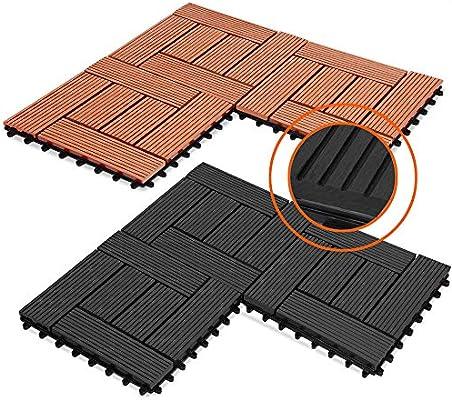 Deuba 44x Baldosas de madera compuesta WPC mosaicas Antracita 30 x 30 cm losas de suelo losetas jardín terraza exterior: Amazon.es: Bricolaje y herramientas