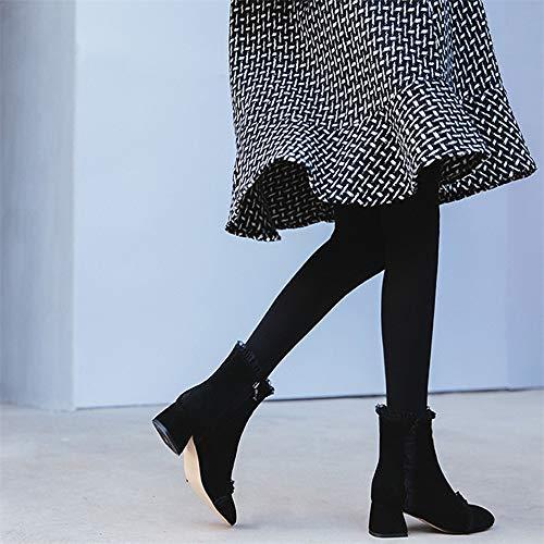 Rüschen Heels Baumwolle Kopf High Schuhe Martin Runden Damenschuhe Reißverschluss Heels High Flache Elegante Herbst HCBYJ und und Schuhe Winter Stiefeletten Women's qfn88g5w