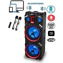 """IDOLmain IPS-DJ03 Wireless Karaoke System & DJ Sound Selection W/Double Bluetooth Receivers, Rechargeable Battery, Dual 12"""" Speakers, 2 Wireless Mics"""