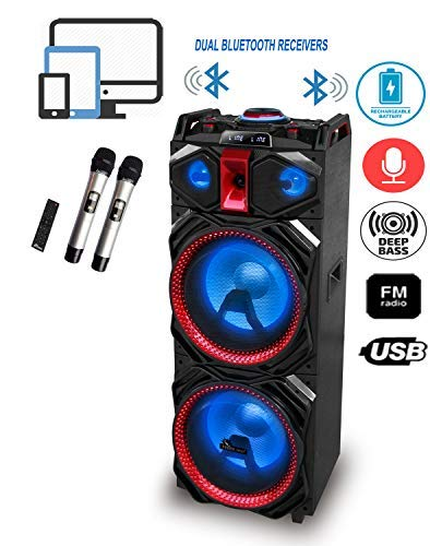 IDOLmain IPS-DJ03 Wireless Karaoke System & DJ Sound Selection W/Double Bluetooth Receivers, Rechargeable Battery, Dual 12