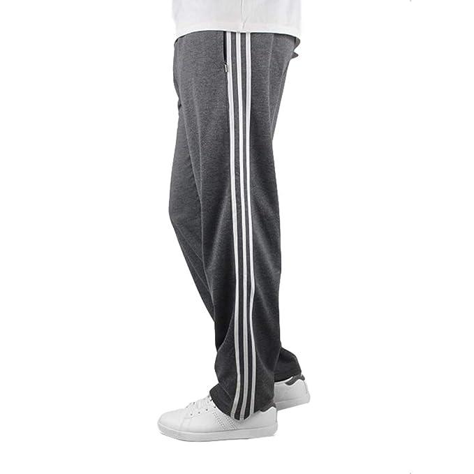 Homme Pantalons Jogging Mode Casual Sport Pantalon 3-Stripes Taille  élastique Jogging Bas de Survêtement 3bb6ce886737