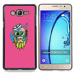 """Qstar Arte & diseño plástico duro Fundas Cover Cubre Hard Case Cover para Samsung Galaxy On7 O7 (Goth inconformista del cráneo del pirata - Pop Art"""")"""
