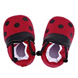 Red Ladybug Pattern Baby Shoes Elastic Band Soft First Walker Shoes(13cm)