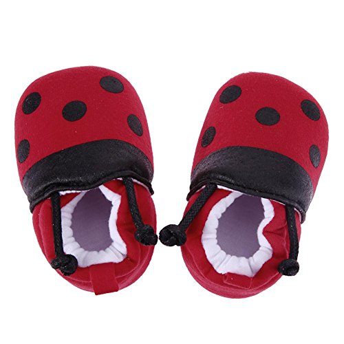 Red Ladybug Pattern Baby Shoes Elastic Band Soft First Walker Shoes(11cm)