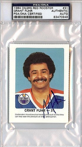 Grant Fuhr Signed 1984 Oilers Red Rooster Card #31 - PSA/...