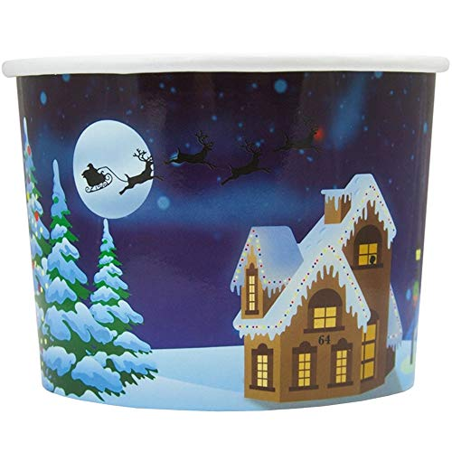 Santa Claus is Coming to Town Paper Ice Cream Cups - 8 oz Perfect For Christmas - Many Sizes! Fast Shipping - Frozen Dessert Supplies - 50 Count -