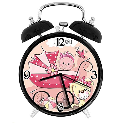 Greeting for New Infant Puppy Dog and Baby Carriage Pastel, Metal Double Bell Alarm Clock, Family Bedroom Travel School Battery Operation Light (Black) 3.8in10.2 cm