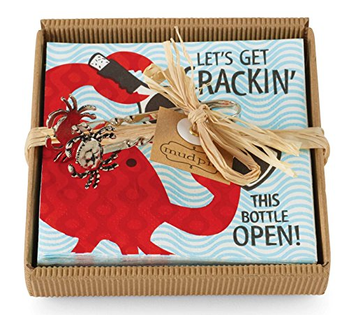 Lets-Get-Crackin-Red-Crab-Cocktail-Napkin-Set-4-Inch-Metal-Crab-Tongs-Mud-Pie