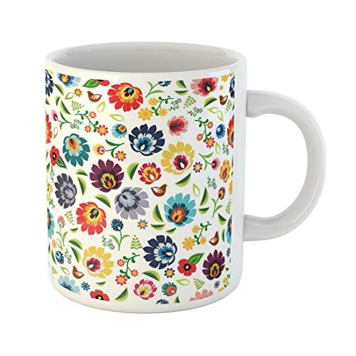 Semtomn Funny Coffee Mug Colorful Flower Traditional Polish