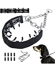 Dog Prong Training Collar, Dog Pinch Training Chrome Plated Steel Choke Collar with Nylon Protector and Comfort Tips, No-Pull Collar for Small Medium Large Dogs (XXL, Silver)