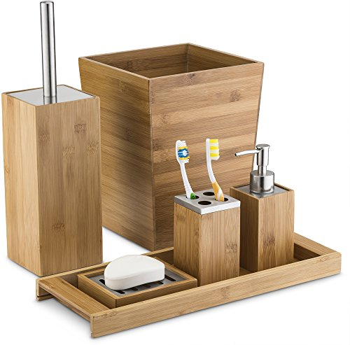 Home Basics Luxury Natural Bamboo Bathroom Accessory 5 Piece Set - Includes Lotion / Soap Dispenser, Toothbrush Holder, Soap Dish / Holder, Vanity Tray, Waste Bin, and Toilet Brush and Holder - Made from all natural bamboo with natural honey color The natural bamboo items need to be cleaned with a damp towel on a weekly or bi-weekly basis to avoid mildew or molding. Avoid exposure to moisture - bathroom-accessory-sets, bathroom-accessories, bathroom - 51i99lYKOtL -
