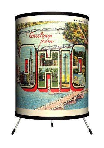 Lamp-In-A-Box TRI-TRV-OHIOO Travel - Ohio Postcard Tripod Lamp, 8'' x 8'' x 14'' by Lamp-In-A-Box
