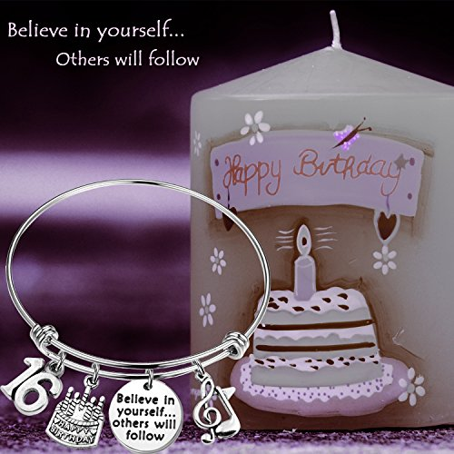 MAOFAED 21st birthday bracelet 13th Sweet 16 18th Inspiration Birthday Gift Believe in yourself Anniversary Jewelry (B-16th) by MAOFAED (Image #4)