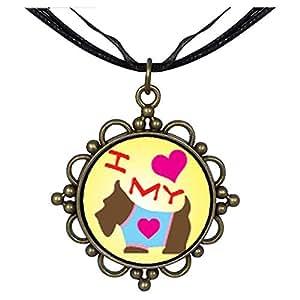 Chicforest Bronze Retro Style I Heart My Dog Round Flower Pendant