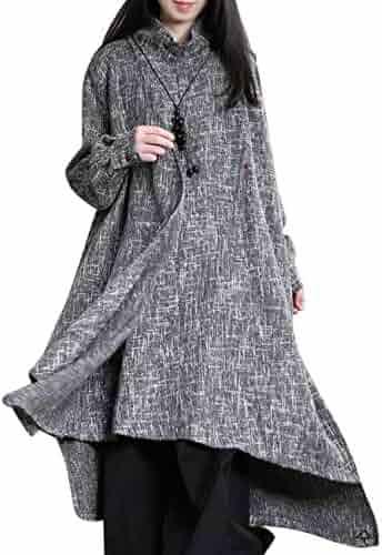 YESNO XA6 Women Fashion Long Maxi Tweed Jacket Bud Hemline Full Zip Round Neck Long Sleeve Big Pockets