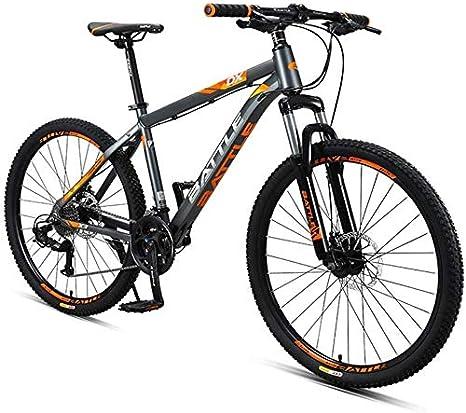 Bicicletas 26 pulgadas de montaña adultos, 27 for bicicleta de montaña suspensión delantera de doble velocidad con freno de disco, marco de aluminio Suspensión delantera de la bicicleta todo terreno d: Amazon.es: