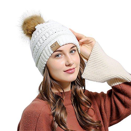Hat Ladies Fedora Furry (XOWRTE Women Men Winter Warm Baggy Crochet Wool Knit Skull Slouchy Ski Beanie Cap Hat)