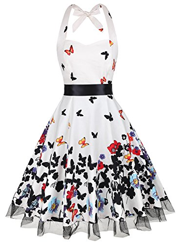 KeZheXi Women's Vintage Halter Floral 50's 60's Rockabilly Polka Dots Retro Cocktail Homecoming Party Night Out Club Prom Dresses (Mild White & Butterfly, XXL) Dot Petticoat