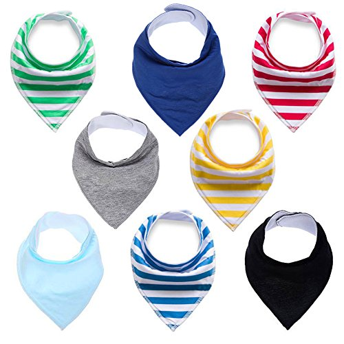Baby Drool Bibs Bandana Teething Organic Cotton boys girls Adjustable Snap triangle Bib set (Striped&Solid color 8pcs) ()