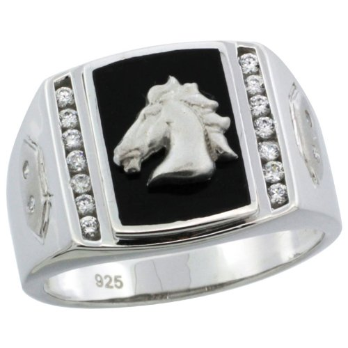 Sterling Silver Men's Black Onyx Horse Ring w/ CZ Stones & Hexagon Accents, 19/32 in. (15mm) wide, size 14
