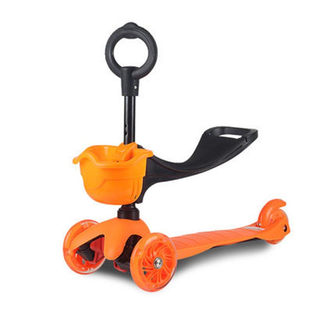 HAIZHEN Kinderwagen Kinderwagen Kinderwagen Kann Heben Kunststoffe Aluminiumlegierung DREI In Eins GEH Raus Kinderroller Für Neugeborene (Farbe   Orange)