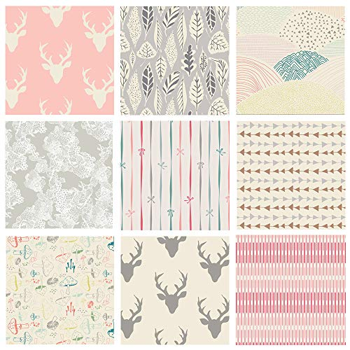Pastel Woodland Quilt Bundle for Baby Girl | Pink and Gray Hello Bear Fabrics | Forest Theme Fabrics | Deer Heads | Little Town from Art Gallery Fabrics (Fat Quarters)